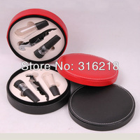 free shipping wine accessories in pu leather box with 3pcs accessories/wine set/barware/bar set