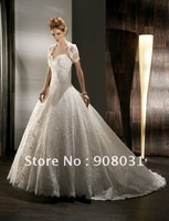 A-line princess with jacket strapless ball gown weep train lace wedding gown 2013