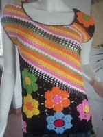 Free shipping Crocheted Sweater Vests Women  Black (Multi-Colored) Cotton100%