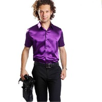 Free Shipping,2012 Newest Hot,Wholesale Shiny Silk Satin Short-sleeve,(Size:S.M.L.XL.XXL.XXXL)Men's Leisure Purple Shirt SA021
