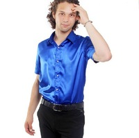 Free Shipping,2012 Newest Hot,Wholesale Shiny Silk Satin Short-sleeve,(Size:S.M.L.XL.XXL.XXXL)Men's Leisure Blue Shirts SA026