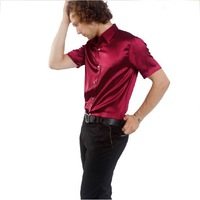 Free Shipping,2012 Newest Hot,Wholesale Shiny Silk Short-sleeve,(Size:S.M.L.XL.XXL.XXXL)Men's Leisure Purple-Red Shirts SA028