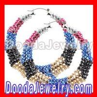 multi-color rhinestone Bamboo Earrings wholesale BW6141 Free Shipping