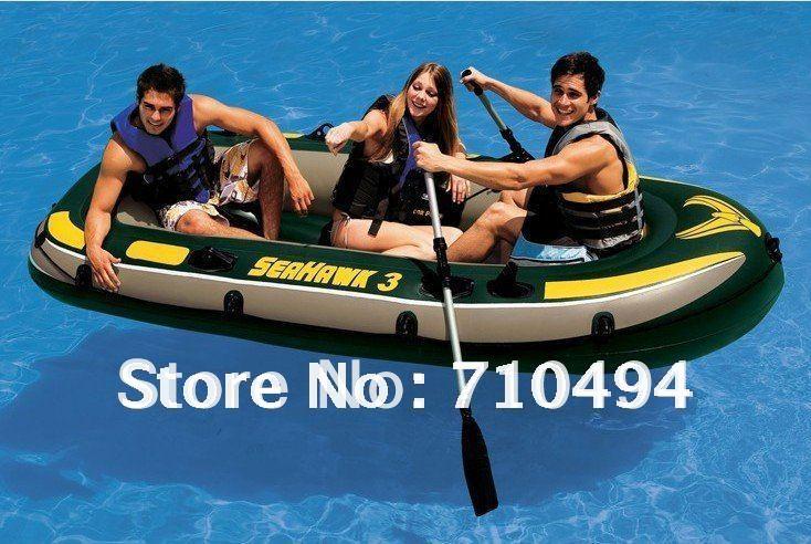 free DHL shipping Seahawk 3 Inflatable Boat 68349 Intex Three Man Blow Up Fishing Raft, Three Man Inflatable Fishing Boat(China (Mainland))