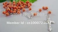 Free shipping   Rosary Rosario Jesus Cross Bead Necklace  100pcs/lot