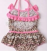 2 Pcs Toddler Baby Kid Girl Leopard Pink Frill Ruffle Swim suit Swimwear with Hat bikinis