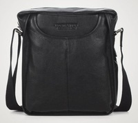 FREE SHIP-Hot New style Men's Black 100% Real Leather Shoulder Bag Fashion  Bag Leisure Easy Bag B10021