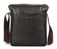 FREE SHIP-Hot New style Men's Brown 100% Real Leather Shoulder Bag Fashion  Bag Leisure Easy Bag B10021