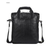 FREE SHIP-Hot New style Fashion Men's Black 100% Real Leather Shoulder Bag Message bag Leisure Sling Bag B10022