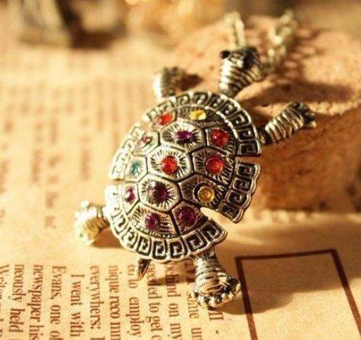 N251  New Vintage Style Animal Jewelry Colorful Rhinestone Crystal  Tortoise Pendant necklaces  B0.9(China (Mainland))