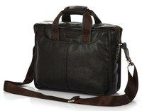 FREE SHIP-Fashion Men's Brown Black 100% Real Leather Shoulder Bag messenger bag  Tote Briefcase Leisure Easy Bag B10023