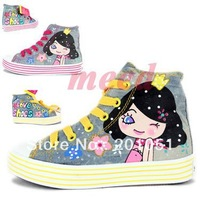2013 autumn new style injection shoes kids canvas shoes wholesale handmade lovely girl princess multicolor canvas shoes sneaker
