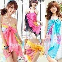 fashion Pareo printed chiffon  women's sarong bikini cover up miss swimwear beach scarf Pareo Dress skirt 50pcs/lot