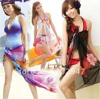 women's sheer ribbon sarong bikini cover-ups swimwear beach scarf Pareo Dress floral printed