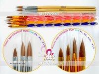 DHL Free Shipping-PRO Quality 100% Kolinsky Nail Art Brush  4 Size 30pcs Professional Nail Art Brushes Sets for Nail Technicians