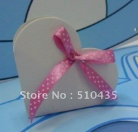 FREE SHIPPING!Heart-Shaped Favor Boxes wedding candy box with free WHITE ribbon