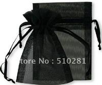 Free ship!!!Bulk 1000piece Black 10x15cm Drawstring Jewelry Gift organza bag pouches