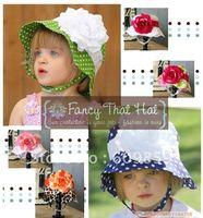 hotsale! doomagic Children's UV Caps sun hats baby cotton sun Hats girls babys flowers sun hats 24pcs/lots