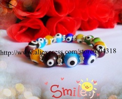 hot sell 10mm turkish evil eye bead bracelet /fashion bracelet /special offer(China (Mainland))