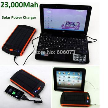 Free Shipping 12V 16V 19V 23000mAh Solar Power Charger Mobile Power Battery Charger for iPad Laptop SamSung P1000 LED Flashlight