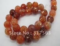 3 strands/lot Fire agate 12 mm faceted round beads, 40 cm strand.Free shipping,
