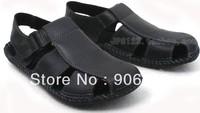 free shipping Baotou sandals business male sandals leisure leather shoes have a beach sandals men's shoes hole hole shoes