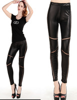 New Fashion Pu leather leggings Punk Style Hollow  Skinny Pants  Free Shipping