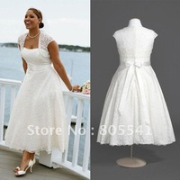 Real Photo Free Shipping Best Selling A-line Strapless Lace Tea-Length Plus Size Wedding Dress 9T9948