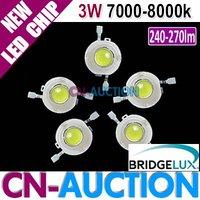FREE SHIPPING! Bridgelux 3W Cool White LED Chip, High Power LED, 45mil, 240-270lm, 7000k-8000k 50pcs/lot (CN-BLC14) [Cn-Auction]