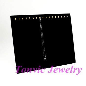 Free Shipping Necklace Display Stand Holder Board For 17 Pcs Velvet Black CF-326
