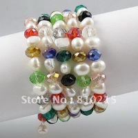 Fashion bracelet 7.5''inchs AA 7-8MM 5Rows white Pearl + Multicolor crystal beads bracelet wholesale New Free shipping A2595
