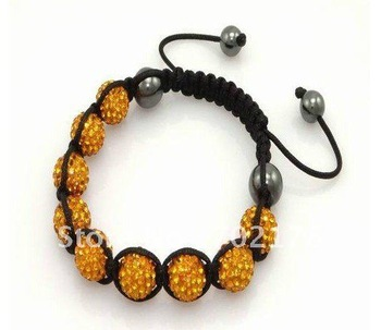 1pcs orange shamballa bracelet AB clay with rhinestone nice artifical european beaded with 9 crystal ball free shipping