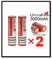 2 x 18650 Original ULTRAFIRE Li-ion Full 3000mAh 3.7V Protected Battery Free Shipping