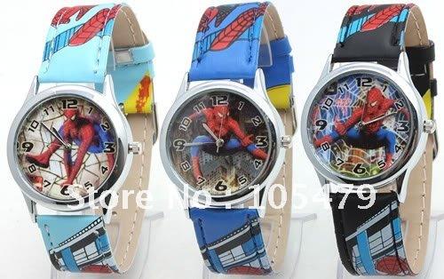 50pcs Childrens Spiderheros School Dress Quartz Watches Boys Kids Fashion Leather Strap Wristwatch Cartoon Watch Party Gifts(China (Mainland))