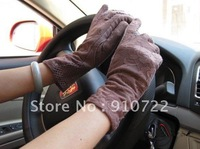 Free Shipping Brown Color Gloves/Fashion gloves/ ladies' UV care Wrist Glove with rubber dot Antislip for driving