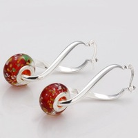 Wholesale! Free shipping! Hot Nice Red Flower Beads Good Sterling silver  Fashion Jewelry Earring PE134 NEW STYLE