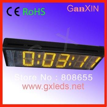 Big yellow high brightness aluminium frame wall mounted led clock time countdown 7-segment display