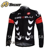 2011 black castelli FACTORY RACING Long Sleeve Cycling Jersey Size S M L XL XXL XXXL free shipping