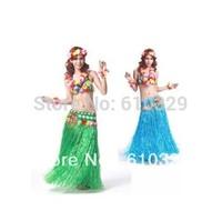 Free shipping wholesale 10PCS Plastic Fibers Child Grass Skirts Hula Skirt Hawaiian costumes 40CM Kids Dress Up