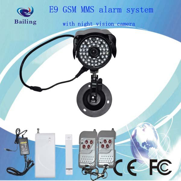 GSM MMS Wireless Security Alarm System With infrared night vision camera(E9)free shipping! good quality and lowest price!(China (Mainland))
