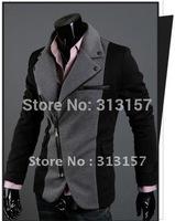 New Fashion Slim Men's Jacket Lapel With Irregular Zipper Dark Jackets For Men