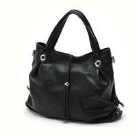 Free ship-Wholesale&Retail Women's Hot Genuine leather black Fringe fashion handbag shoulder bag messenger tote bag W009#