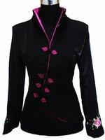 black Chinese Women's Satin Polyester Embroidery Jacket Coat Plus Size S M L XL XXL XXXL 4XL 5XL 6XL J1462-A