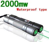 2000mW focusable green laser pointer flashlight / burning laser torch BURN matches free ship