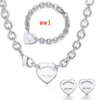 new 925 Silver necklace and Bracelet  earrings set Jewelry necklaces + Bracelets set come with packaging