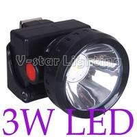 Free Shipping!! 3W 2800mAh LED Miner Cap Lamp for Mining Fishing Range 60M