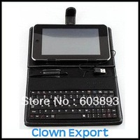 "Free Shipping    B11163CL    7"" tablet pc Stand keyboard,leather case with keyboard fit for 7inch tablet pc USB"