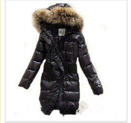 hotsales!Women's Real Fur Down Coat Lady Long Jacket Hood & Belt Winter Clothes Black Best Selling Free Shipping ML8888