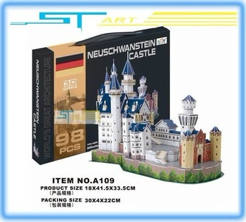 LINGLESI A109 3D puzzle paper craft Neuschwanstein Castle DIY 3D three-dimensional puzzle Building model low shipping