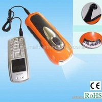 3LED hand cranking dynamo torch with mobile phone charger / hand winding up torch / manual dynamo torch